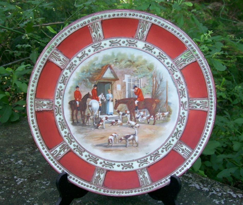 Antique Noritake Nippon Hunt Scene Porcelain Plaque Moriage Trim 9.5