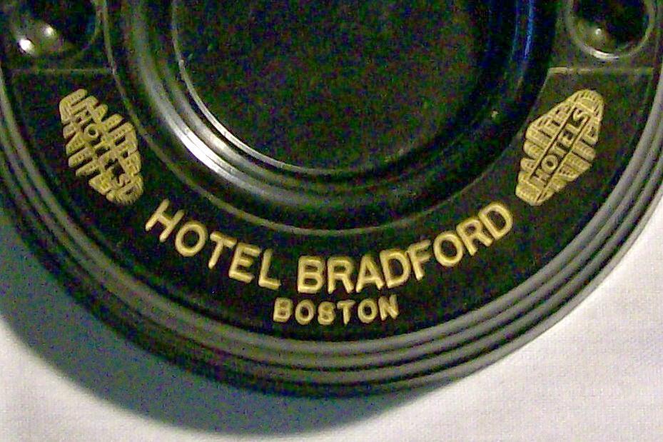 Hotel Bradford Black Bakelite Advertising Ashtray Boston 1930+