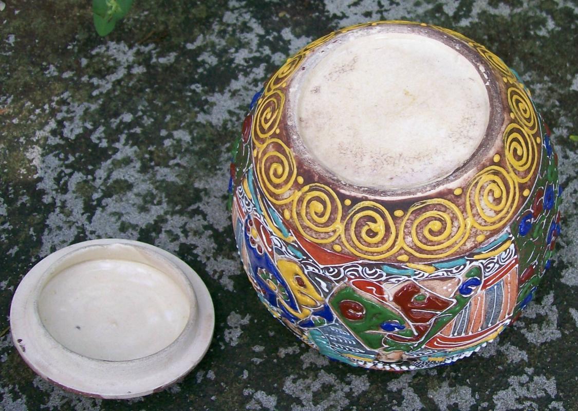 Antique Japanese Satsuma Moriage Jar & Lid Warlords 1850's-60's Ceramic Tobacco or Tea