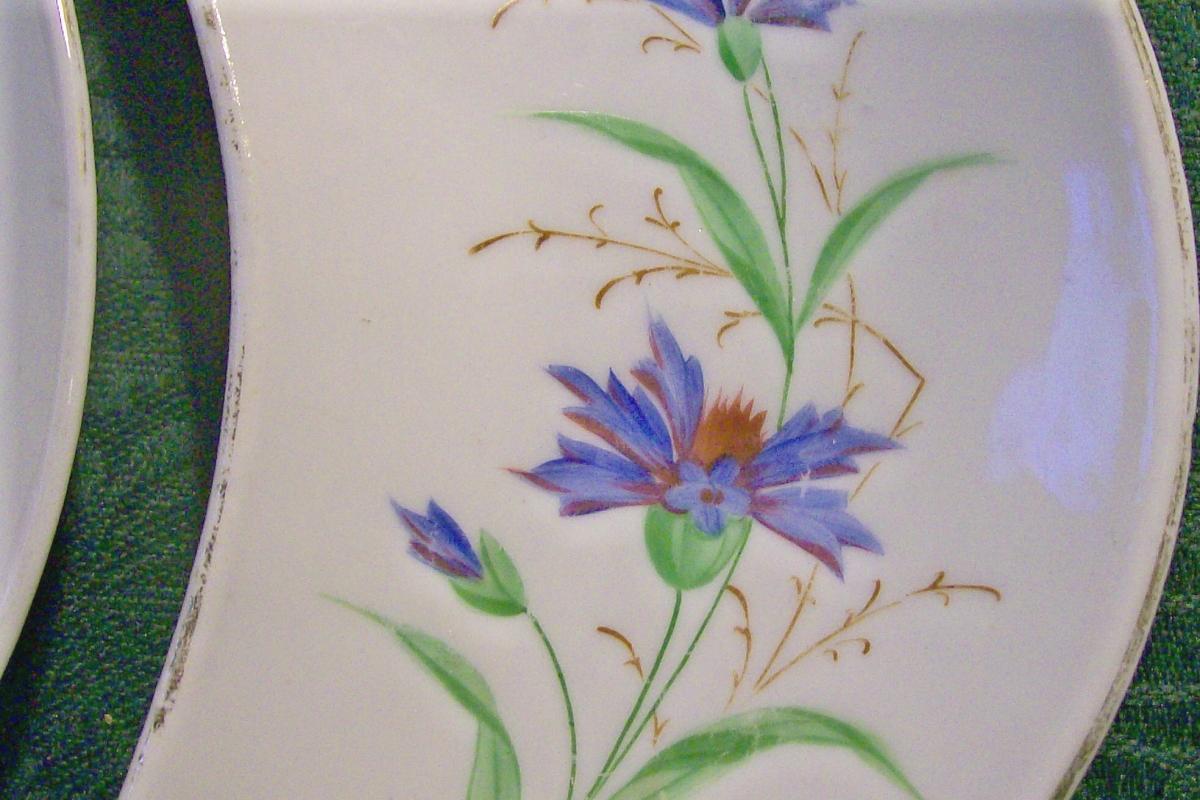Ironstone Ceramic Bone Dish Pair Hand-Painted Blue Cornflowers