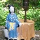 Vintage Japanese Luster Figural Lamp Seated Woman w/Table Ca. 1930