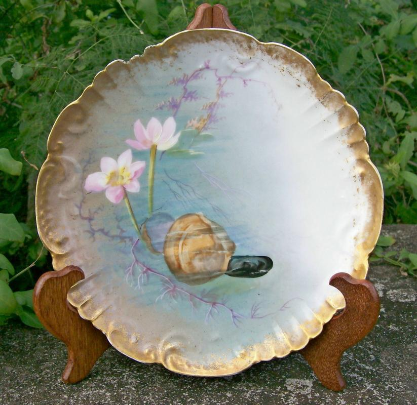 Antique Klingenberg Limoges Clam Plate Hand-Painted Late 1800's 9