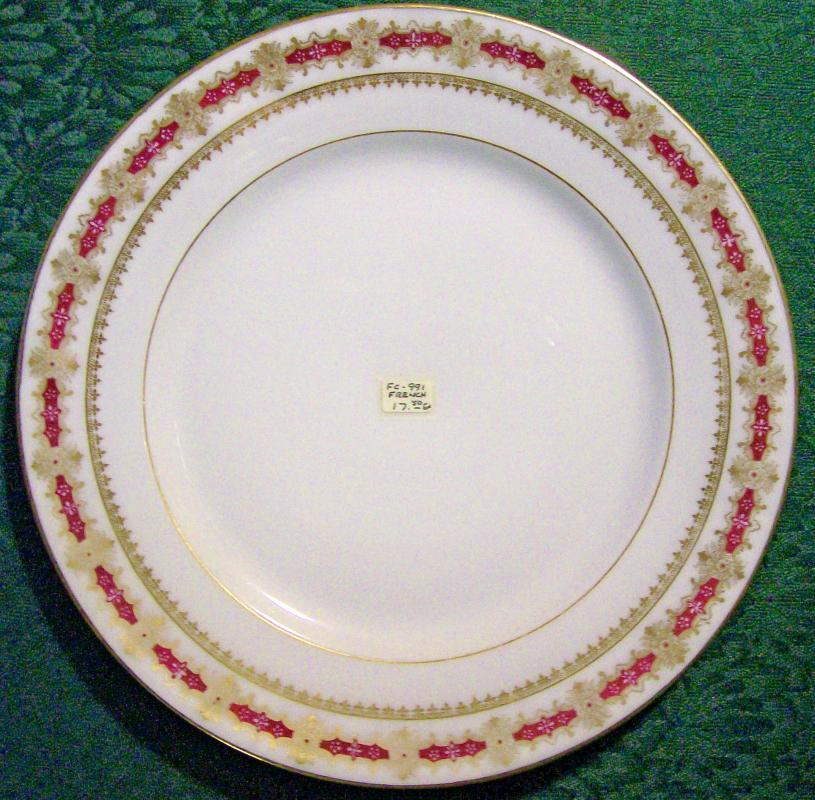 J. Godin Porcelain Plate Paris France Burgundy Red/Gold 9 5/8