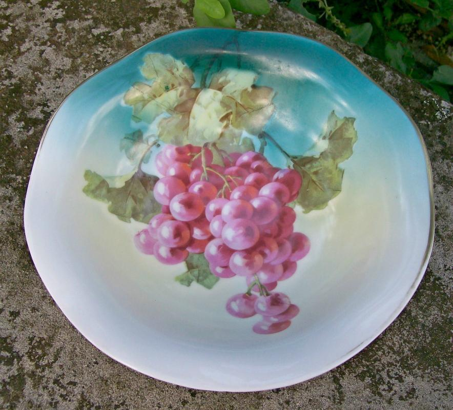 P T  Bavaria/Tirschenreuth Porcelain Footed Bowl Grape Decal 8 5