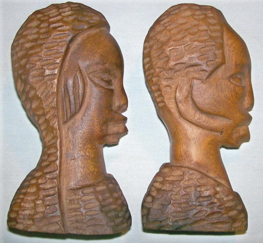 Antique African-American Primitive Wooden Carvings Male/Female Bust Pair 6.75
