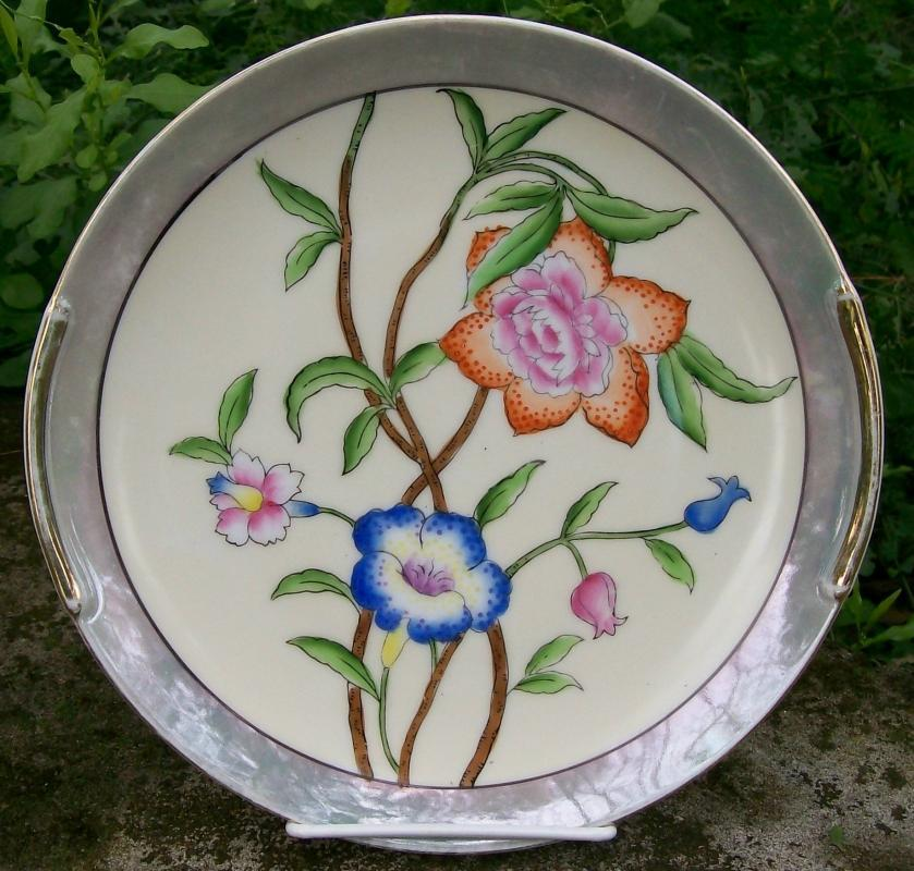 Noritake Art Deco Ceramic Cake Plate Gray Luster w/ Bright Flowers 9