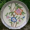 Noritake Art Deco Ceramic Cake Plate Gray Luster w/ Bright Flowers 9