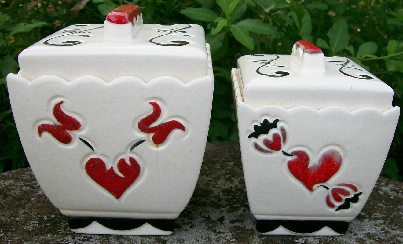 Vintage Brayton Laguna California Pottery Penn-Dutch Canister Pair J-2 & J-3