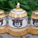 Vintage Japanese Luster Ware Condiment Set 6 Pc. Art Deco 1920s-30's