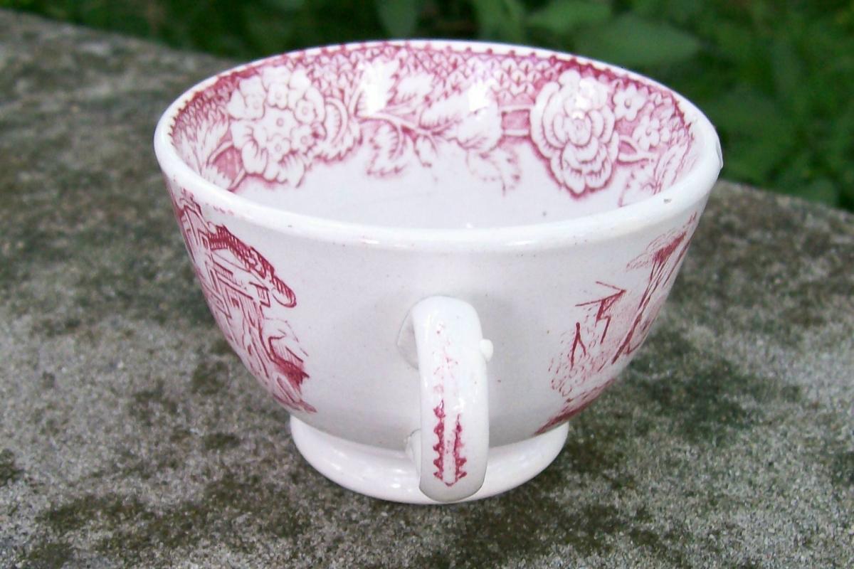 Mid 1800's Red Transferware Ceramic Cup Oriental Scene 2