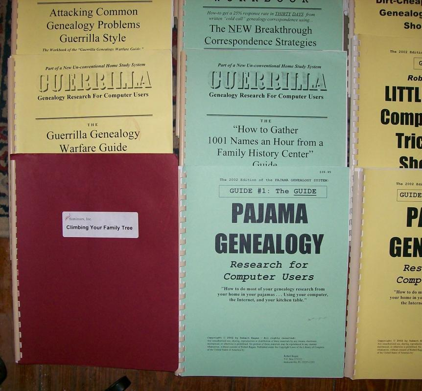Guerilla/Pajama Genealogy Guide Book Lot of 12 Spiral-Bound Softcover