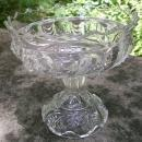 Scalloped Swirl/York Herringbone EAP Clear Glass Comport 1890s