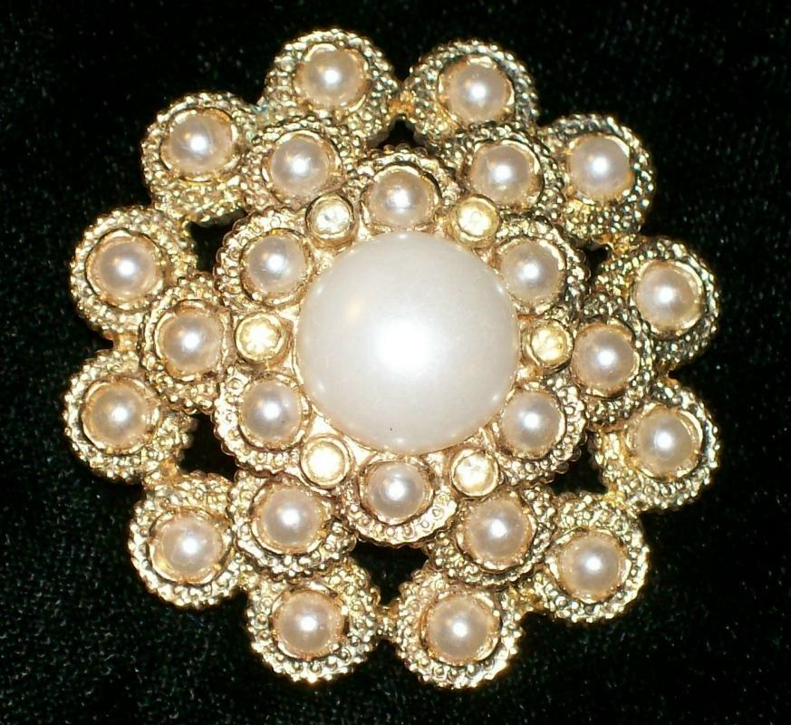 Sarah Coventry Brooch/Pin 1960s-70s Faux Pearl/Rhinestone Mound 1.75
