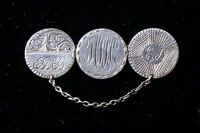 Antique Coin Love Token Brooch/Pin 1880s Seated Liberty Dimes