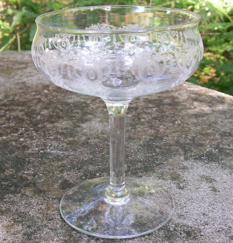 Monongah Glass Champagne/Tall Sherbet Etch #803 Clear 1920s