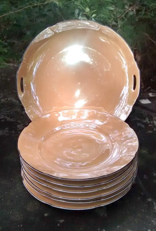 Leuchtenburg German Luster Cake Plate Set 7 Piece Orange & Black