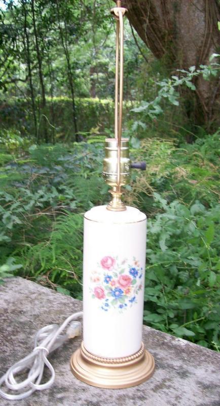 Spaulding China Ceramic Electric Lamp 1940s Multicolor Floral