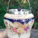 Antique Carlton Ware Biscuit Barrel #6883/5 Blush/Cobalt Floral Ca. 1900