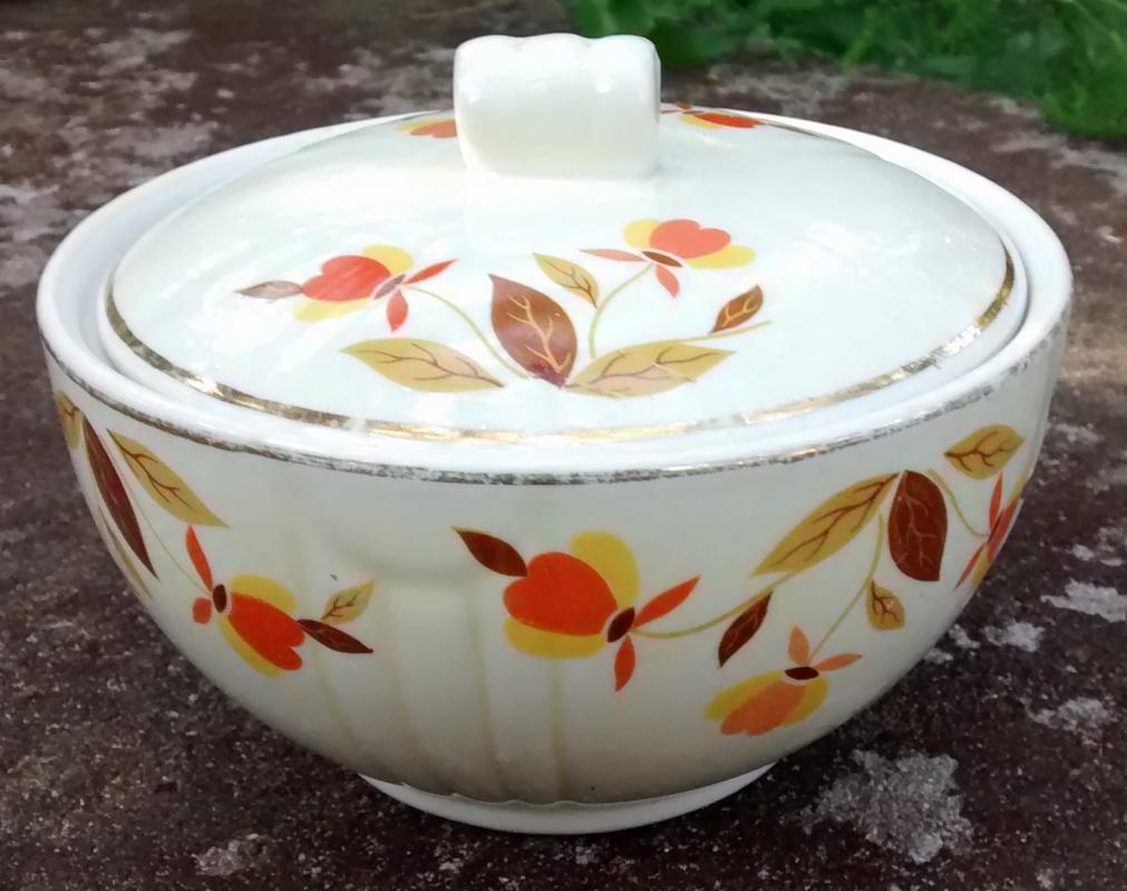 Hall Superior Autumn Leaf Ceramic Drippings Jar w/Lid