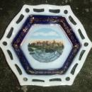 Windsor Canada Souvenir Ceramic Dish Cobalt Reticulated Hex. Early 1900s