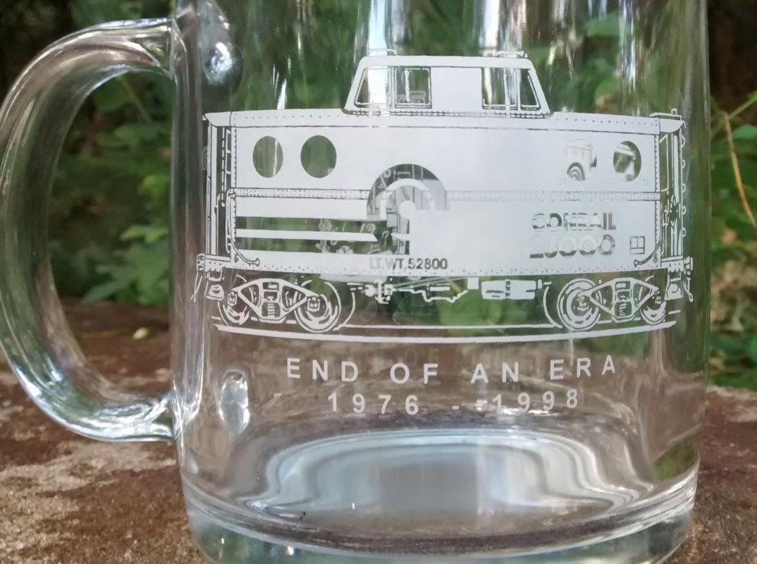 Vintage Conrail Railroad Glass Mug End of An Era 1976-98 Trains
