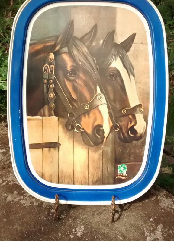Vintage Strout Realty Advertising Tray Tom & Jerry Horses