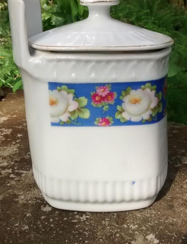 Vintage White Bloch Salt Box w/Lid Blue Band/Roses Germany