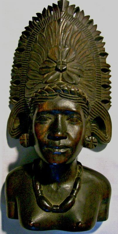 Antique Tropical Hardwood Carving Bust of Woman w/ Headdress Polynesian?