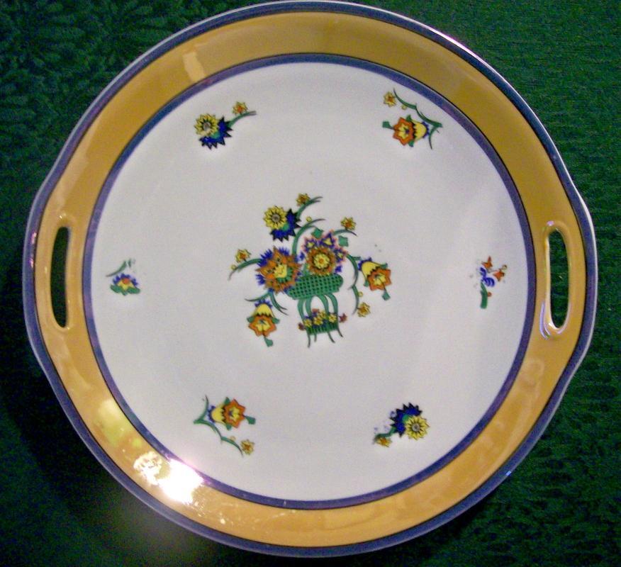Bavarian Art Deco Luster Cake Plate