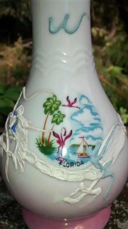 Florida Souvenir Moriage Dragon Ceramic Vase 1950s Japan