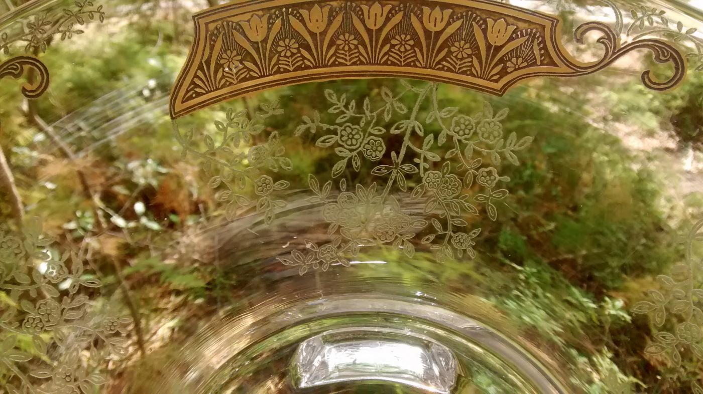 Vintage Duncan & Miller Flared Bowl #115-1 Gold Tulip Bands/Etched Flowers 12