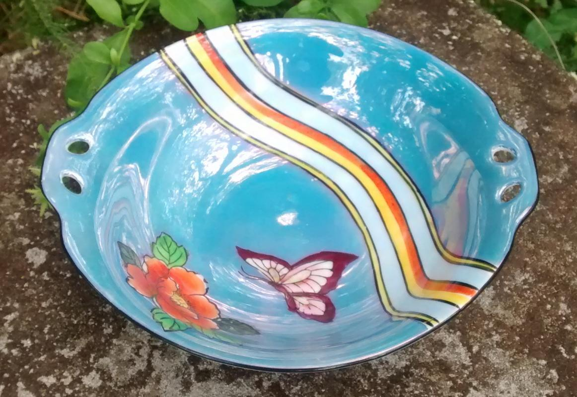 Noritake Art Deco Butterfly & Rainbow Bowl 1920s-30s