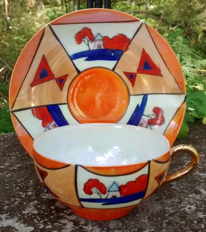 Art Deco Nippon/Japan Ceramic Cup & Saucer Orange Luster/Red/Cobalt Geometric