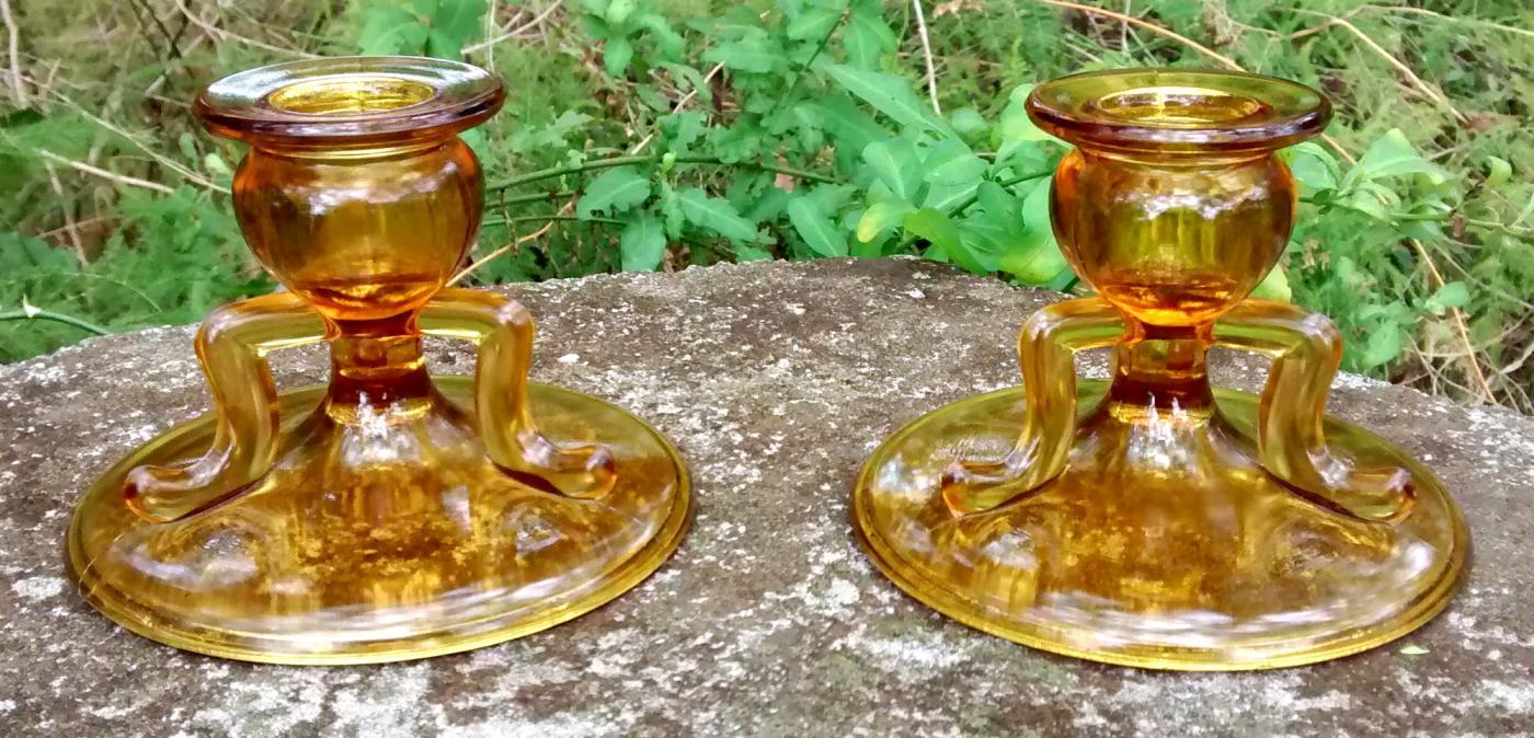 Vintage MCM Golden-Glo Candlestick Pair #1402 L.E. Smith Amber Glass