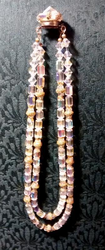 Vintage Aurora Borealis Necklace Double-Strand w/Goldtone Accents 1950s
