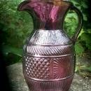 Vintage Three-Mold Pitcher Amethyst Purple Glass 7.5
