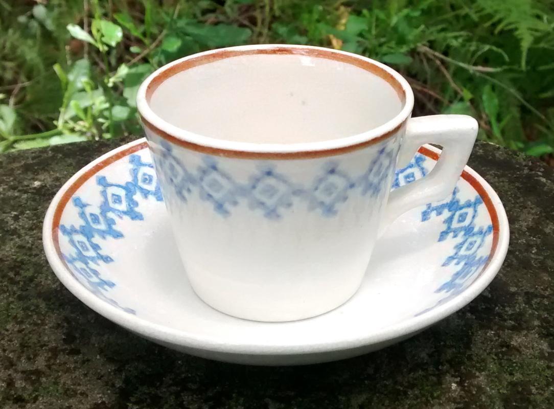 Antique Child's Stick Spatter Cup/Saucer Ca. 1891 Blue/Brown