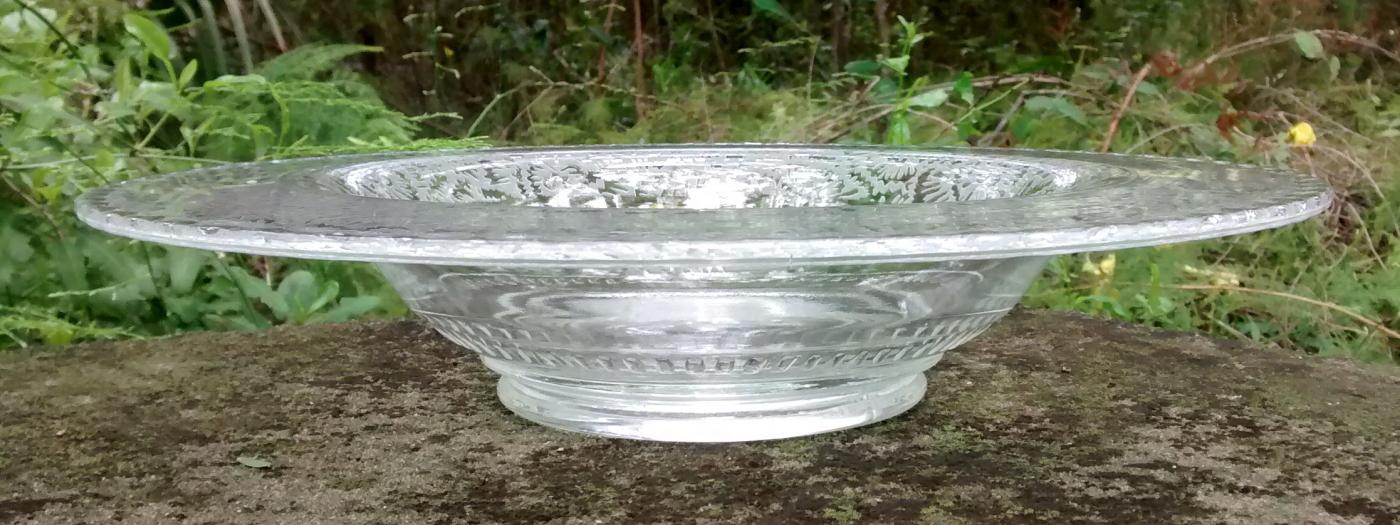 Vintage Paden City Frost Gadroon Console Bowl #881 1930s-40s Clear
