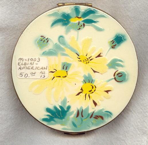 Vintage Elgin American Compact Enameled Brass 1950s Yellow Flowers