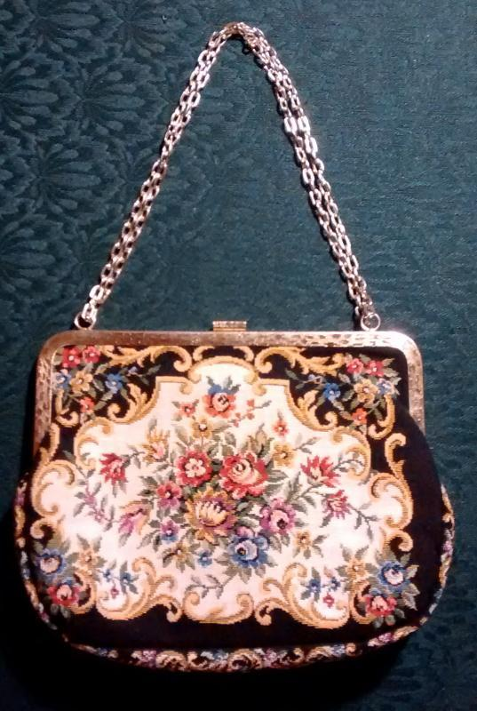 Vintage Floral Tapestry Purse w/Chain Black/MC 1950s Hong Kong