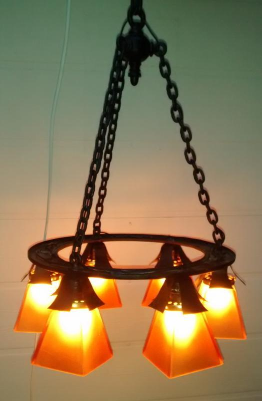 Antique Arts & Crafts Chandelier Iron Chain Early 1900s Rewired 48