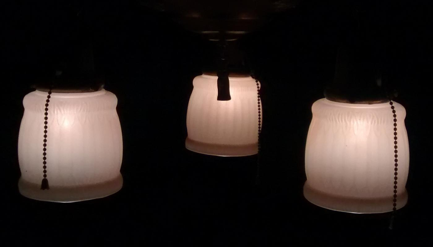 Antique Pan Chandelier 3-Light with Shades Early 1900s Rewired