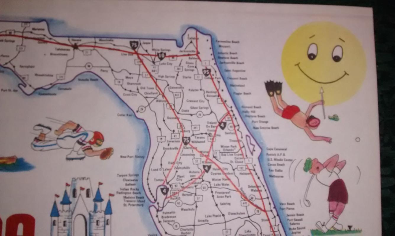 Vintage Florida Map Placemat Set/10 Sunshine State Brooklace Paper 1970s