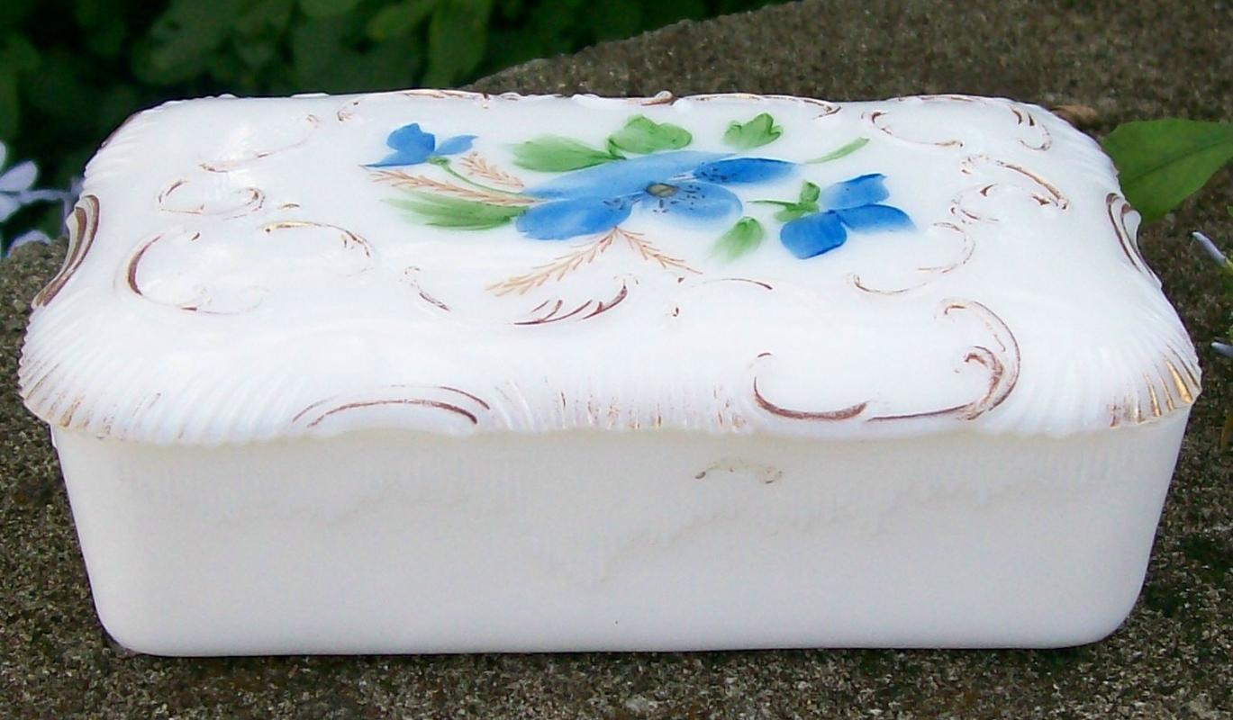 Antique Opal/Milk Glass Covered Box HP Blue Flowers Ca. 1900