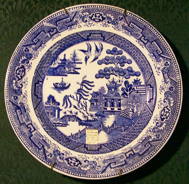Antique Till Blue Willow Plate English Staffordshire 1850-60 9.5