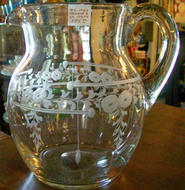 Vintage Hawkes Crystal Cut/Engraved Pitcher Floral Bands/Bars/Drops 7