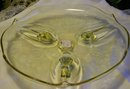 Vintage Lancaster Landrum Cake Plate Topaz Yellow Footed 10.25