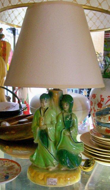Vintage Shawnee Lamp Oriental Couple Original Shade & Electric Wiring 11