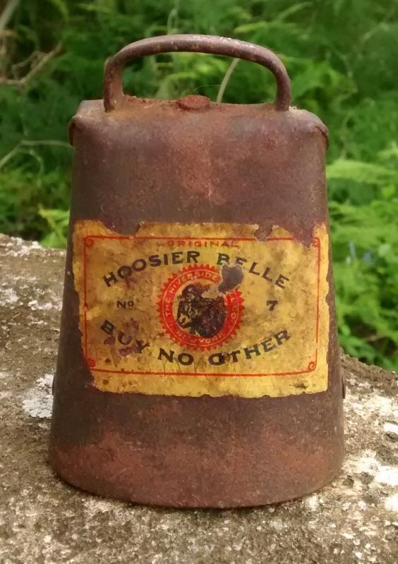 Antique Hoosier Belle Cow Bell No. 7 w/Label Riverside NY