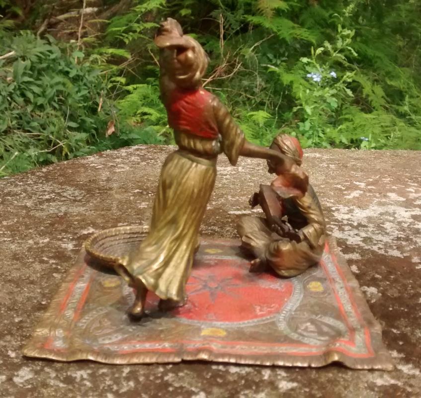 Antique Bergmann Vienna Bronze Scupture Arab Veil Dancer on Carpet Late 1800s 4.5